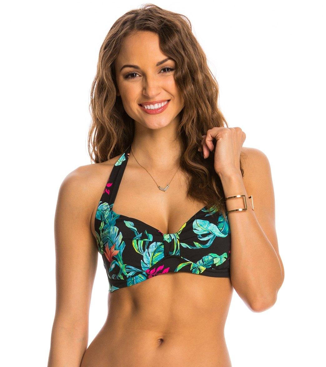 7ead631da879e ... Seafolly Jungle Out There Halter Bikini Top (DD Cup) Play Video. MODEL  MEASUREMENTS