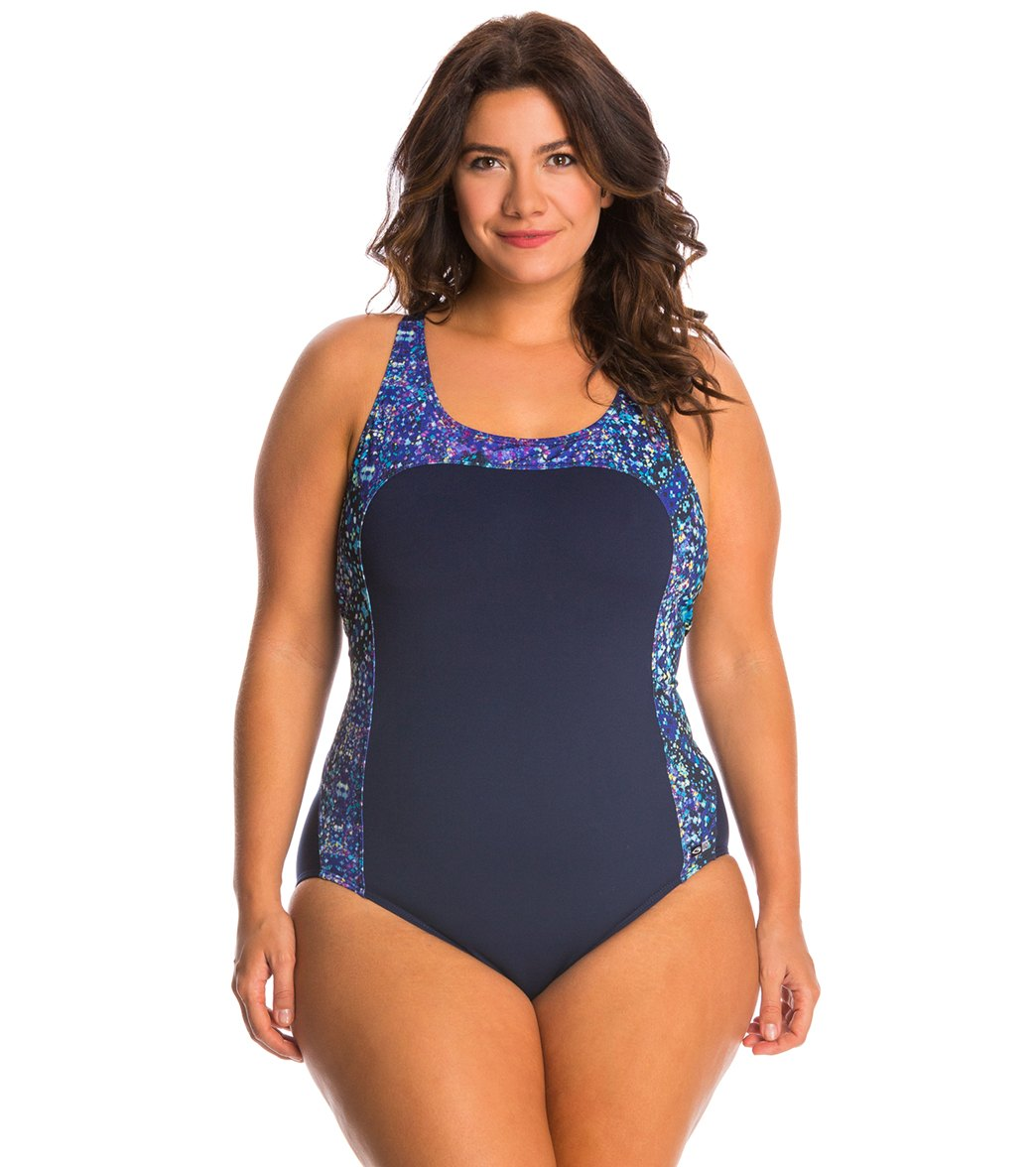 7c3531dcf14 EQ Swimwear Plus Size Grace One Piece Swimsuit at SwimOutlet.com - Free  Shipping