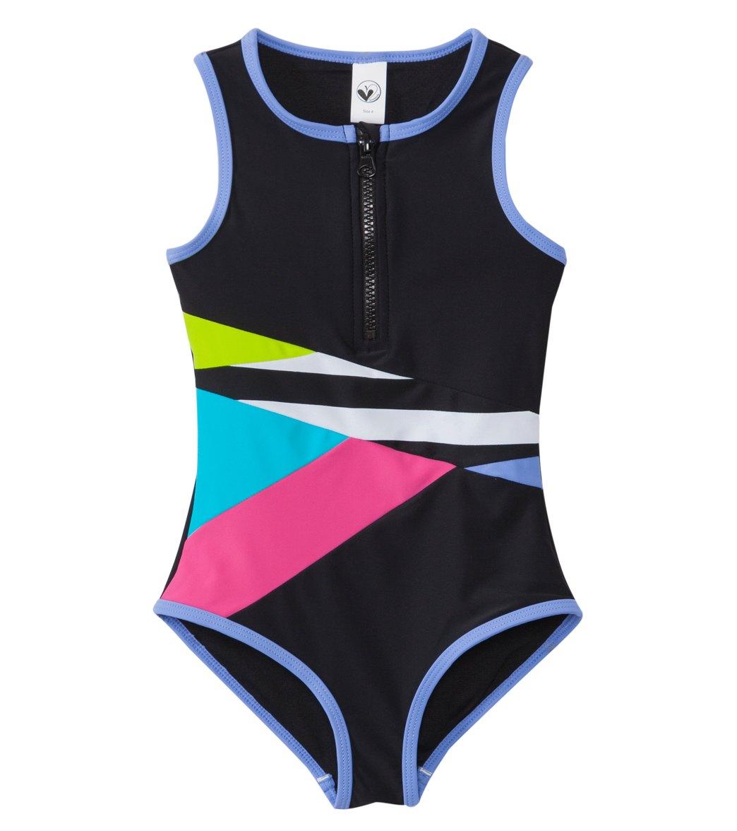 73069de150 Limeapple Swimwear Girls' Paradise Colorblock One Piece Swimsuit ...