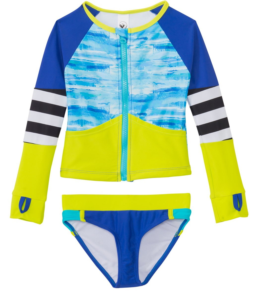 7014e3ddcc Limeapple Swimwear Girls' Hawaii Zip Up Rash Guard Set (4yrs-16yrs ...