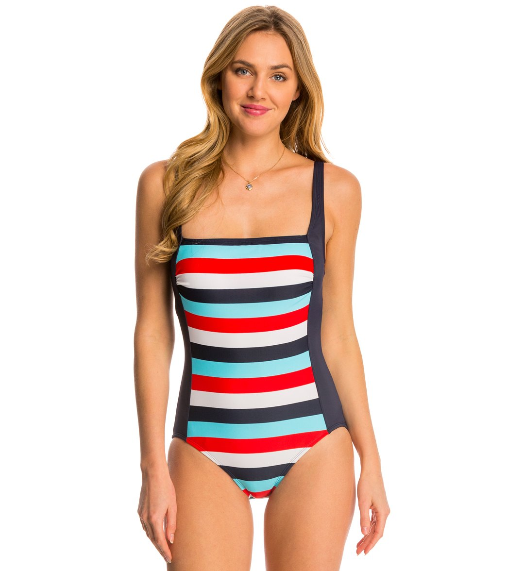 83630720db6 Tommy Hilfiger Slide Stripe Square Neck Tank One Piece Swimsuit