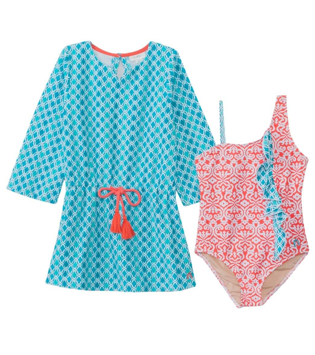 5b3975df1f ... Cabana Life Girls  UPF 50+ Coral Seas One Piece Swimsuit   Terry Cover  Up. Share