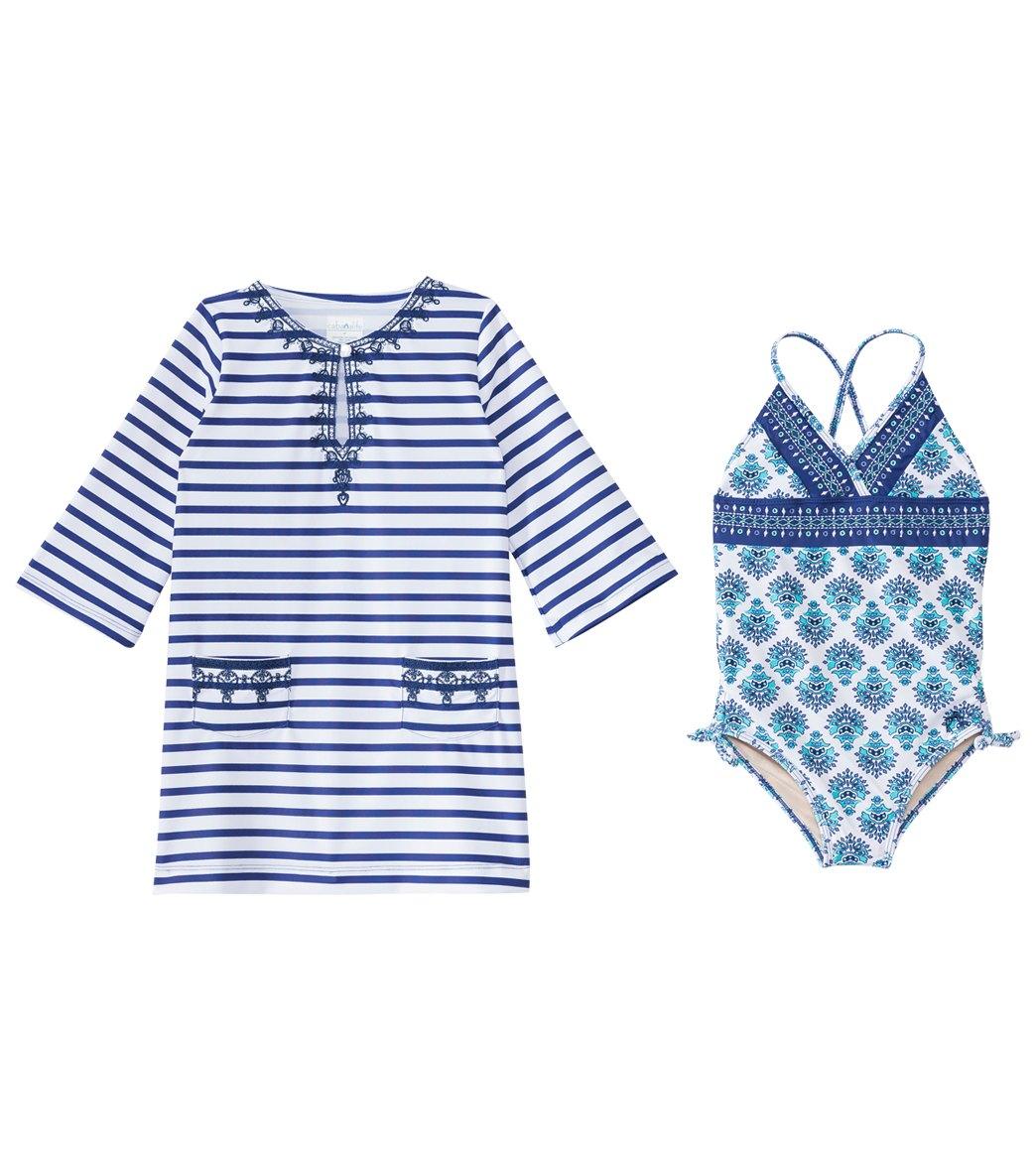 603269fdf6 ... Cabana Life Girls  UPF 50+ Coastal Crush One Piece Swimsuit   Cover Up  Set. Share
