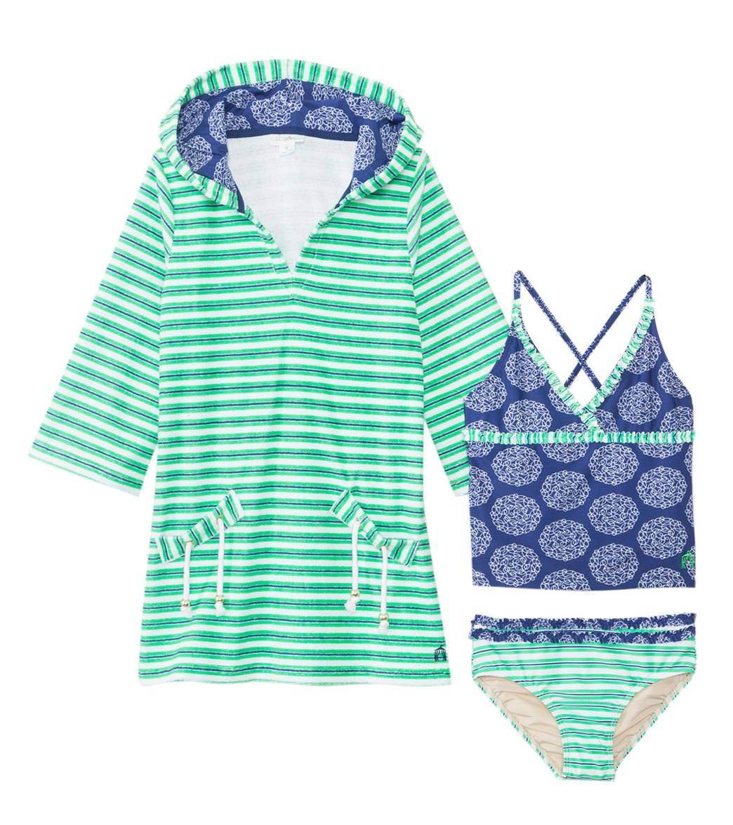 71d9becadc ... Cabana Life Girls  UPF 50+ Nautical Knots Two Piece Swimsuit   Terry  Cover Up. Share