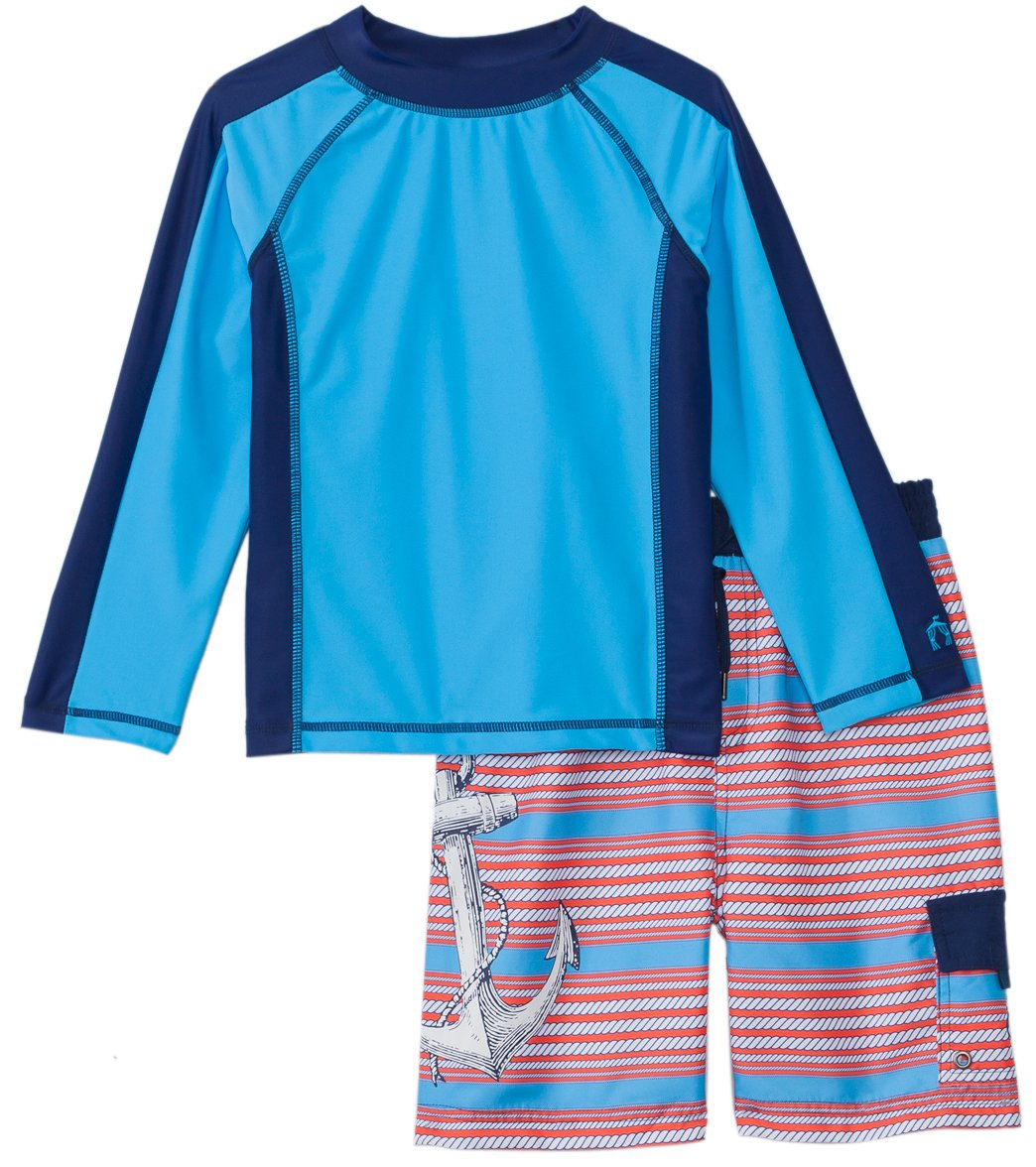 85242ca5bc Cabana Life Boys' UPF 50+ Red Anchor Swim Shorts & Rashguard Set (8 ...