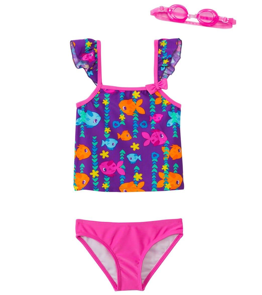 bd81e6587f Jump N Splash Girls' Fab Fish Two-Piece Swimsuit w/ Free Goggles (4 ...