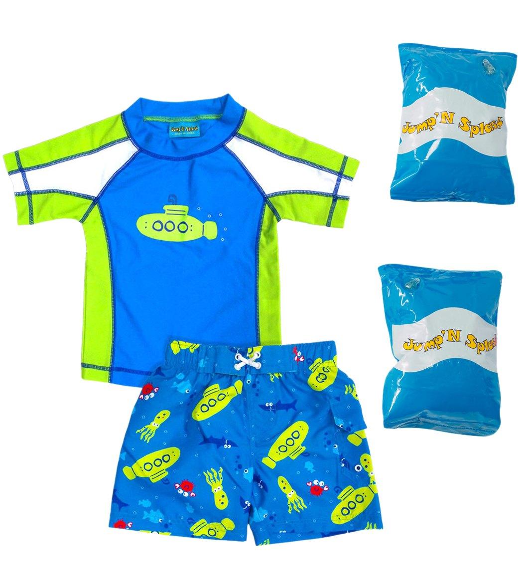 a632c47488 Jump N Splash Toddler Boy's Submerge Two-Piece Rashguard Set w/ Free  Floaties (2T-3T)