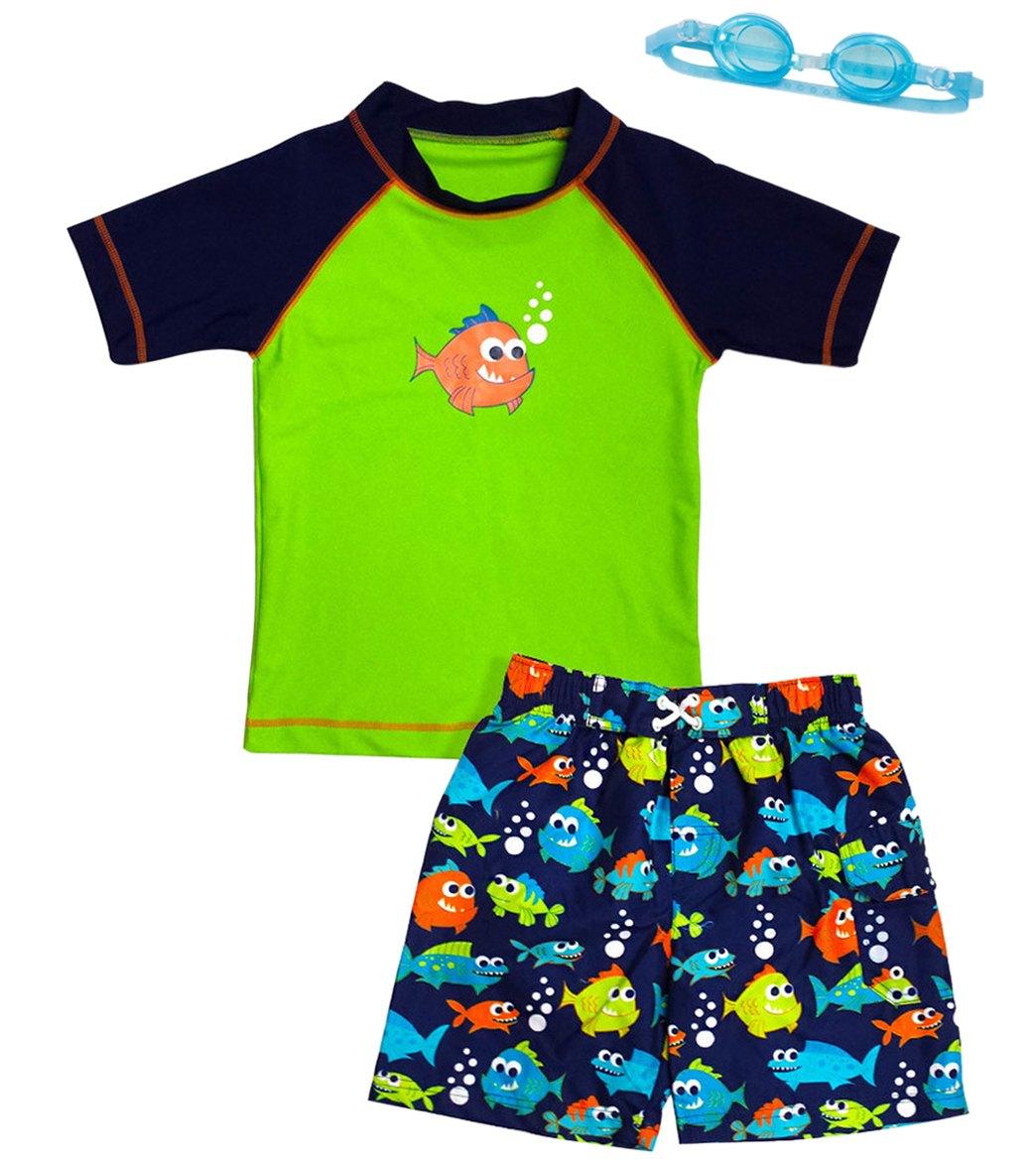 cc2de7fbd2 Jump N Splash Boy's Piranha Party Two-Piece Rashguard Set w/ Free Goggles (