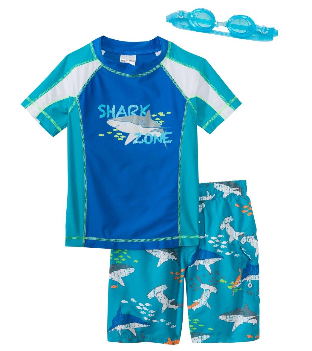 5df370db18 Jump N Splash Boy's Shark Zone Two-Piece Rash Guard Set w/ Free Goggles