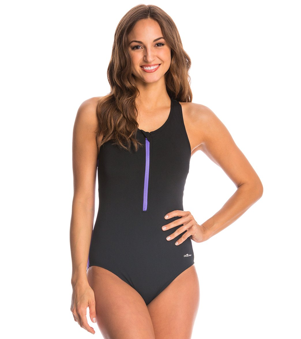 94e3b697ab5c4 Dolfin Aquashape Zip-Front Racerback One Piece Swimsuit at SwimOutlet.com -  Free Shipping