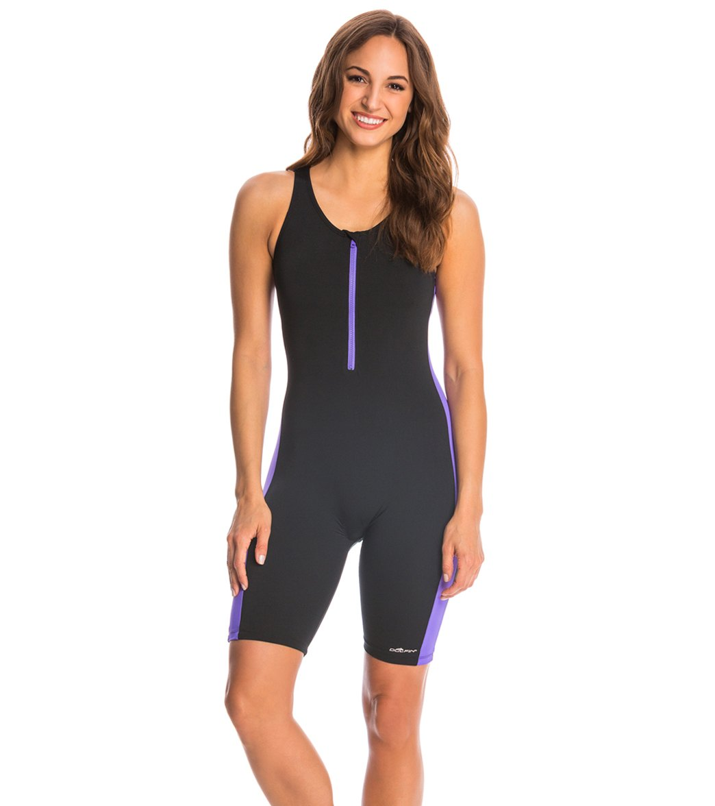 39261342c2 Dolfin Aquashape Zip-Front One Piece Aquatard Swimsuit at SwimOutlet.com -  Free Shipping
