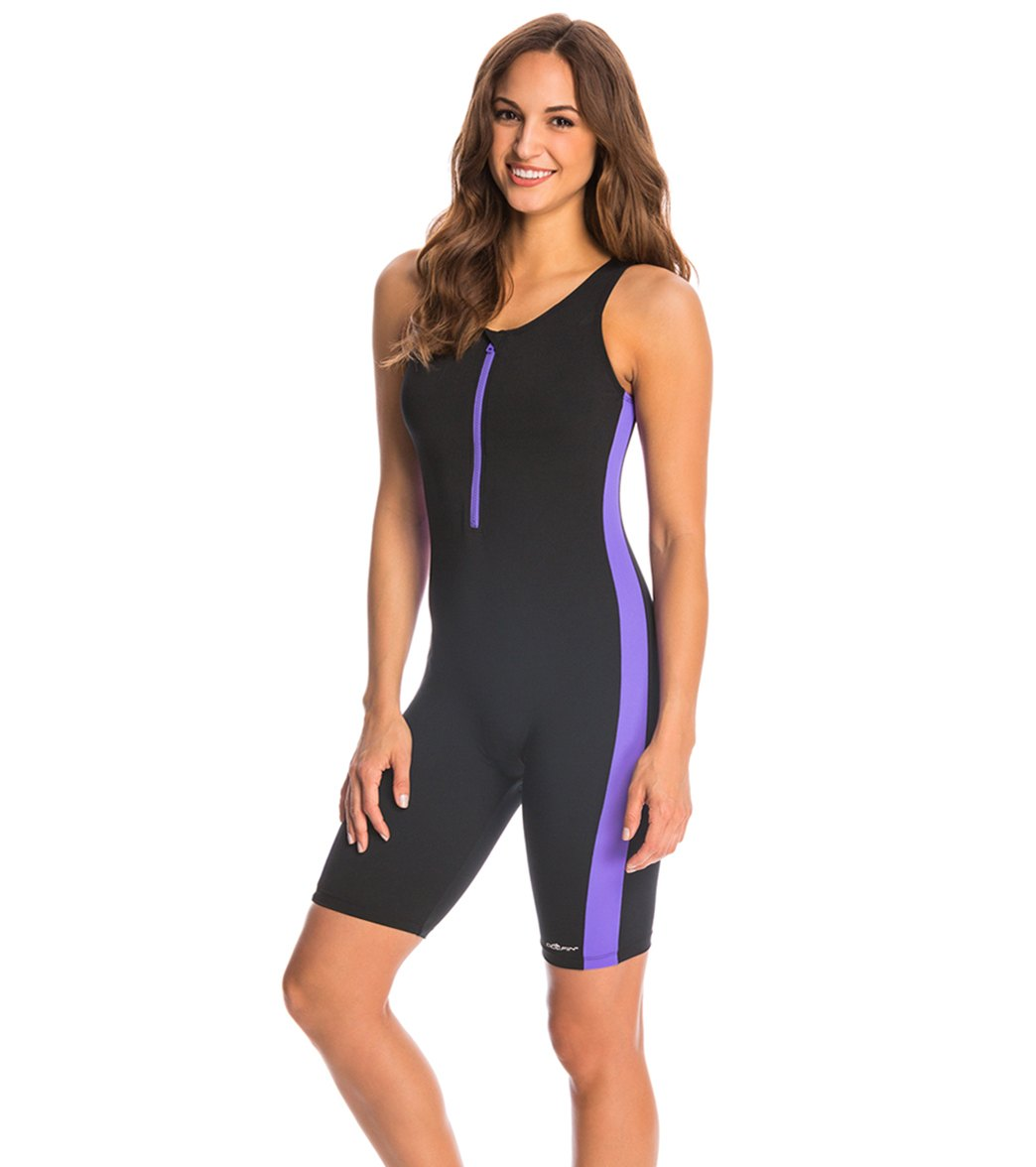 e67cdd73d945e Dolfin Aquashape Zip-Front One Piece Aquatard Swimsuit at SwimOutlet.com -  Free Shipping