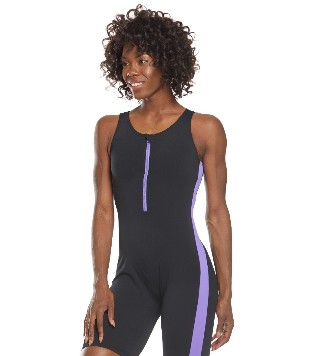 1f24235bd7 Dolfin Aquashape Zip-Front One Piece Aquatard Swimsuit at SwimOutlet ...