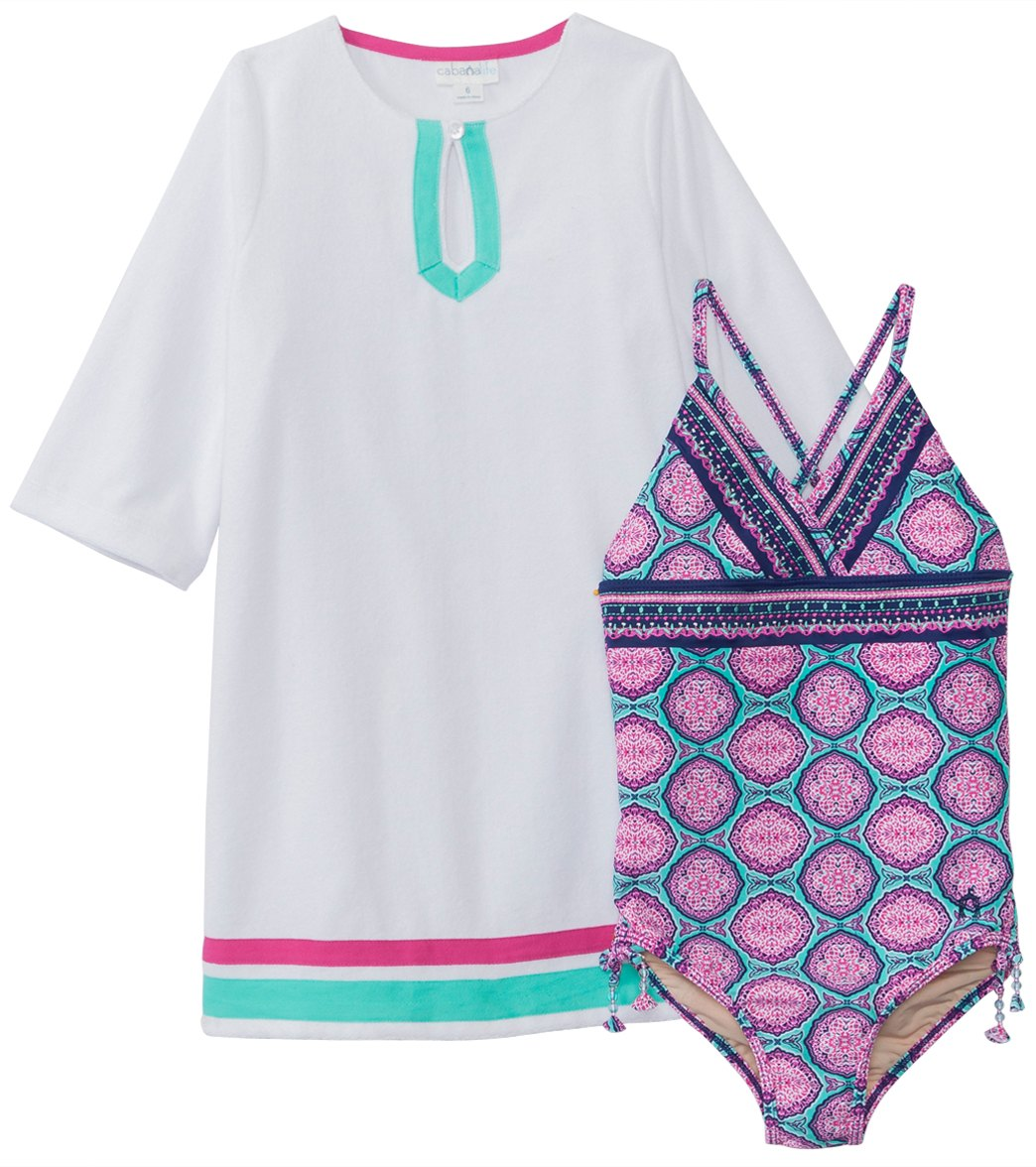 3c11c86595 Cabana Life Girls  Azalea Shores One Piece Swimsuit   Terry Cover Up  (2T-6X) at SwimOutlet.com - Free Shipping
