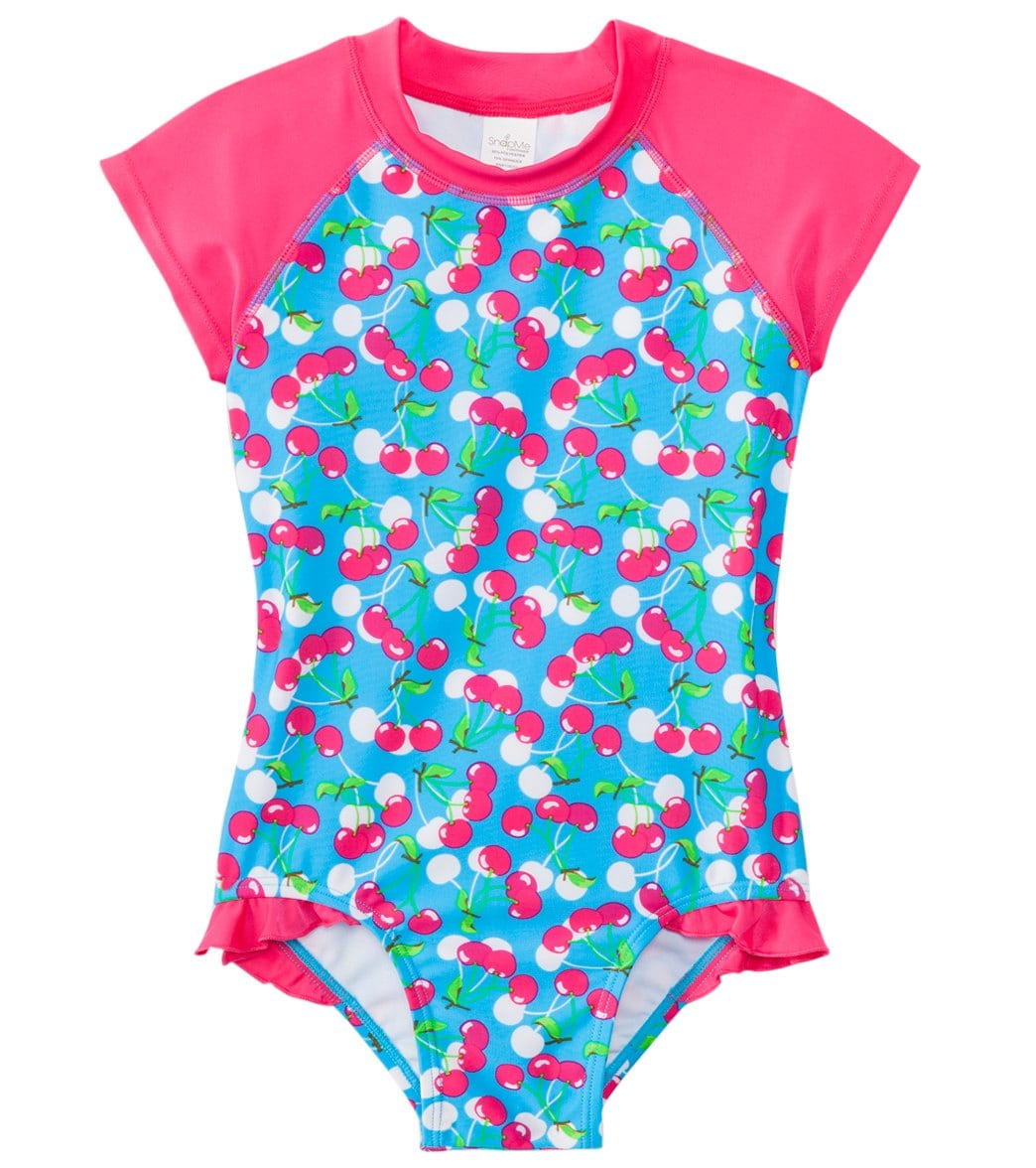 a7d6f9b0daf91 SnapMe Girls' Lucy Very Cherry Ruffle S/S Rash Guard One Piece Swimsuit UVP