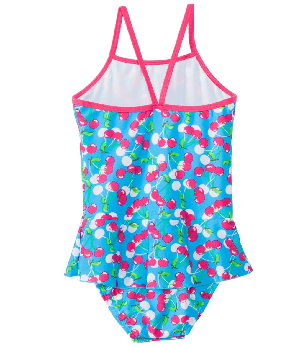 8ea21cd55bf55 SnapMe Girls' Very Cherry Skirted Peplum One Piece Swimsuit UVP 50+  (6mos-8yrs) at SwimOutlet.com