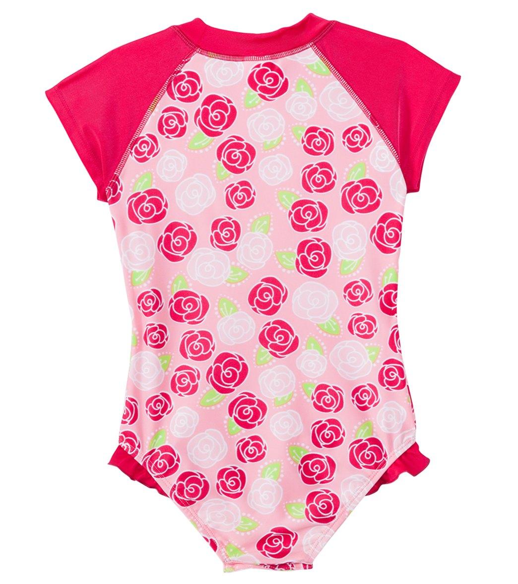 1158d48693f2f SnapMe Girls' Lucy Rosalita Ruffle S/S Rash Guard One Piece Swimsuit UVP 50