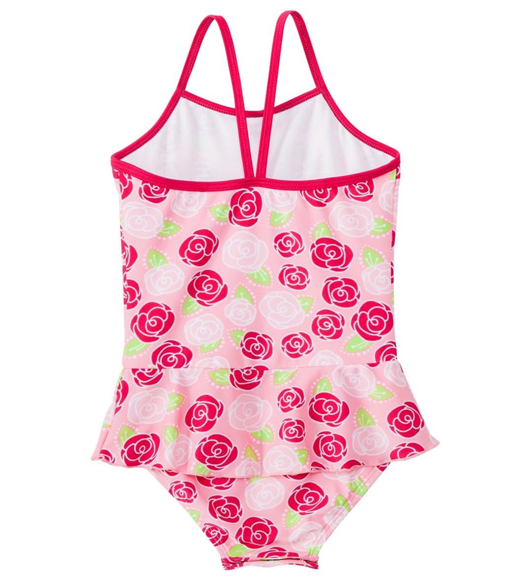 2a0ab4b29b975 SnapMe Girls' Rosalita Skirted Peplum One Piece Swimsuit UVP 50+ (6mos-8yrs