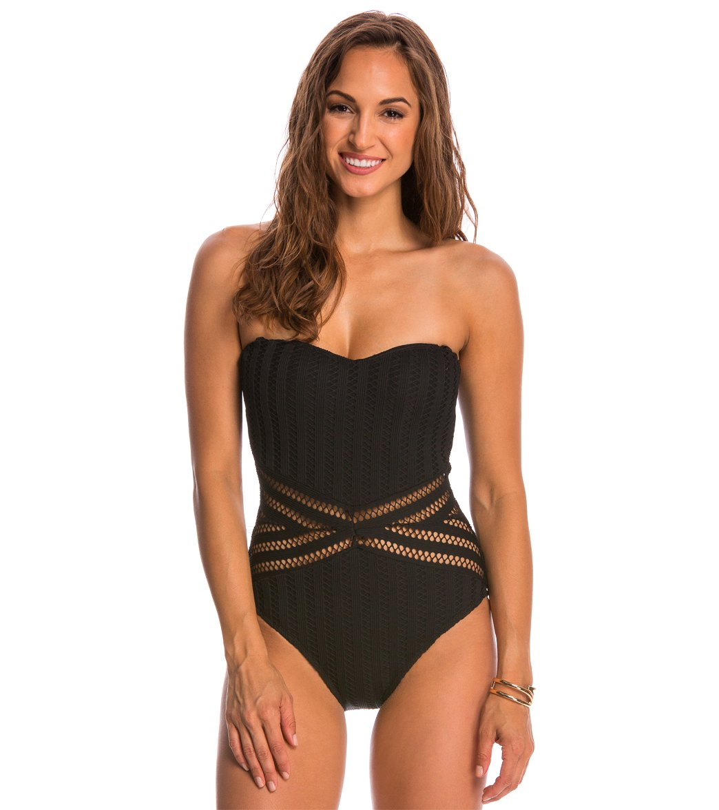 Kenneth Cole Swimwear Tough Luxe Bandeau One Piece Swimsuit At