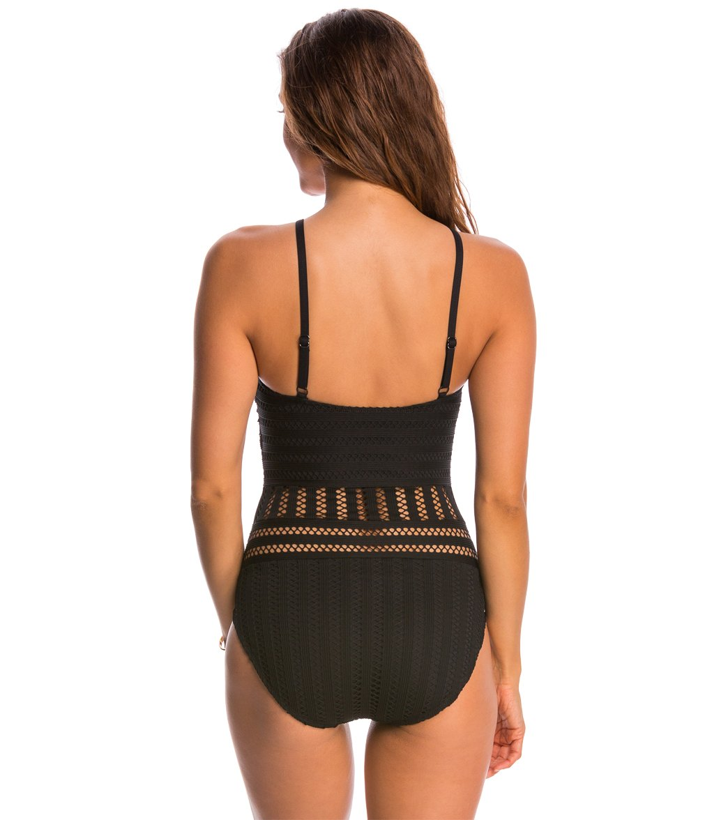 a56cf31435 Kenneth Cole Swimwear Tough Luxe High Neck One Piece Swimsuit. Black;  Midnight