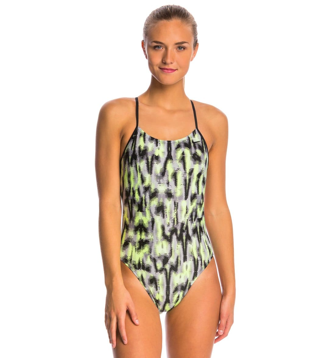 7855421583 Nike Blurred Lines Cut Out Tank One Piece Swimsuit at SwimOutlet.com - Free  Shipping