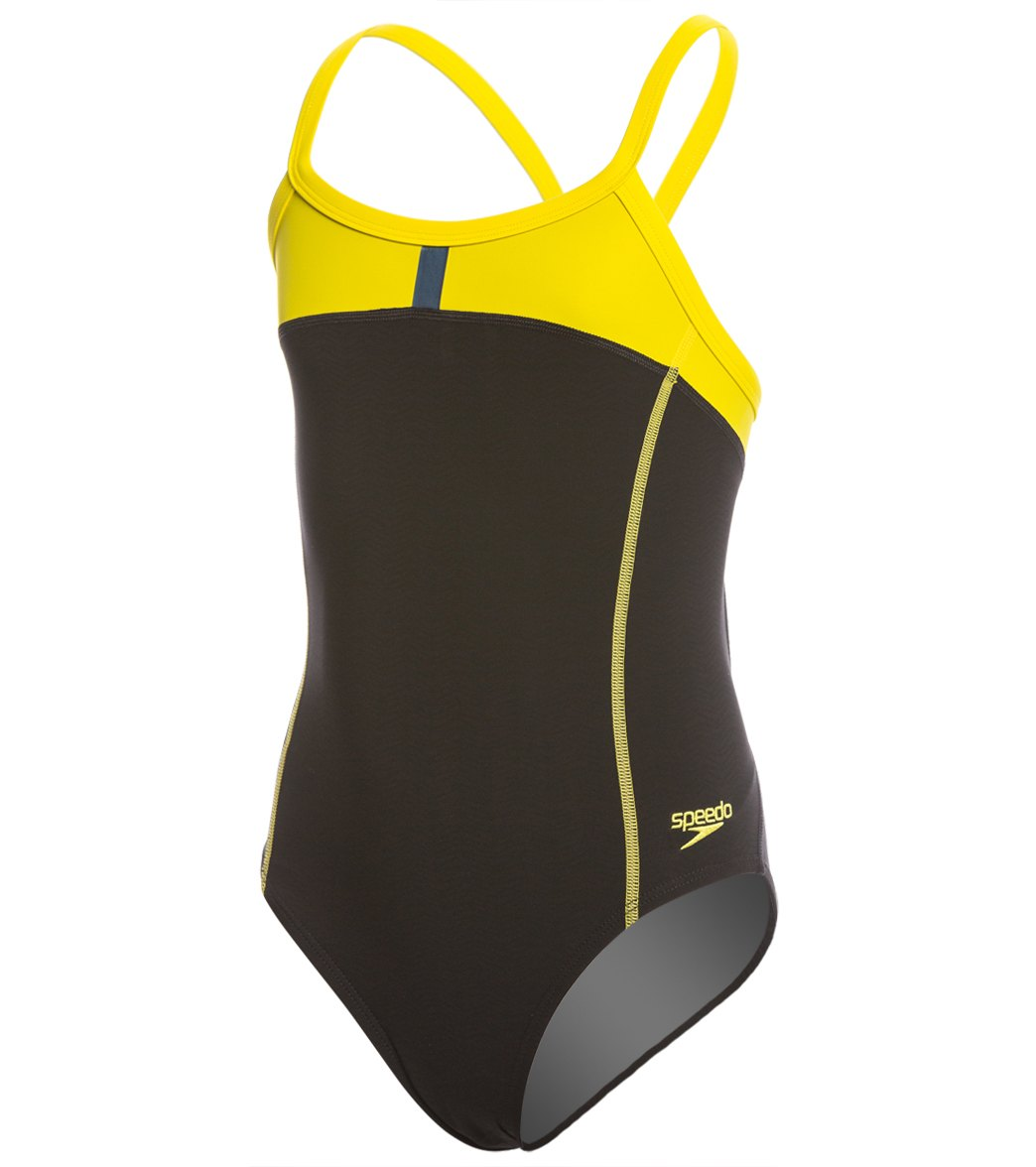 575a445662 Speedo Youth PowerPlus Bolt Splice Drill Back One Piece Swimsuit at  SwimOutlet.com - Free Shipping