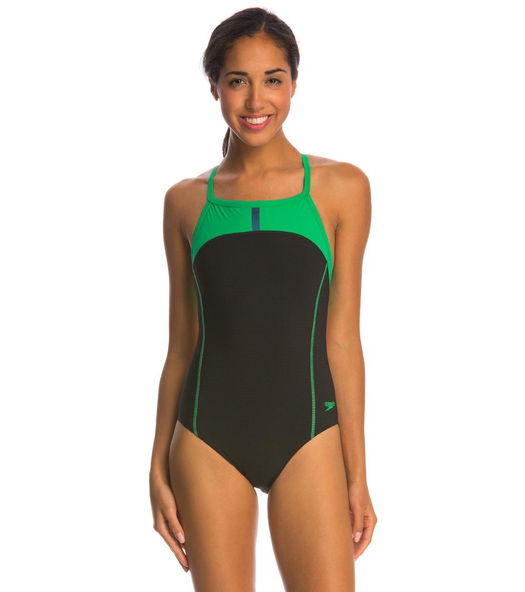 Speedo Bolt Splice Drill Back Powerplus Onepiece Swimsuit Speedo Swimwear 7719703-P