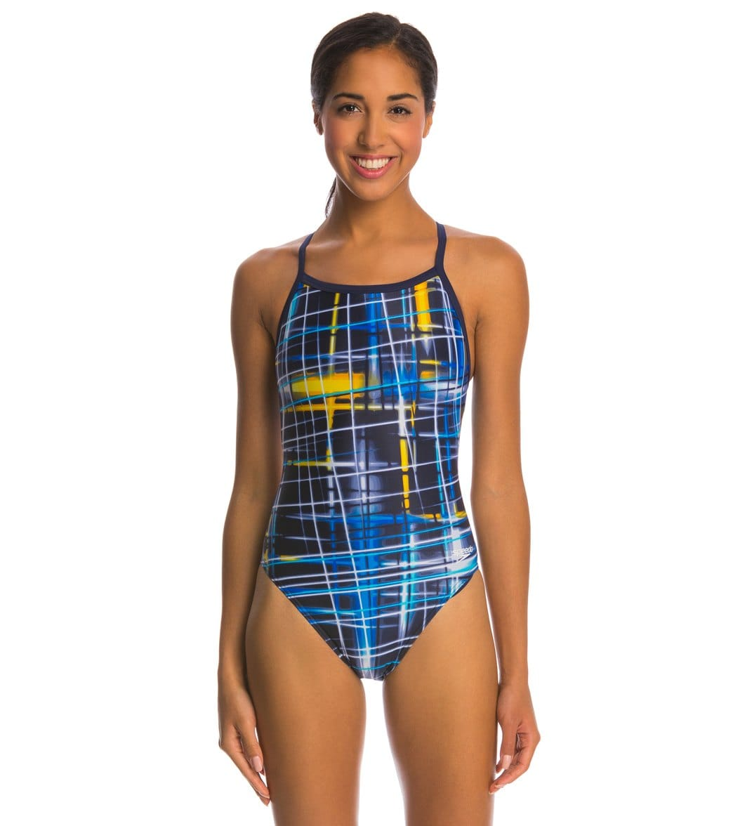 8a3fe8f9eb Speedo PowerFlex Eco Laser Sticks Pulse Back One Piece Swimsuit at  SwimOutlet.com - Free Shipping