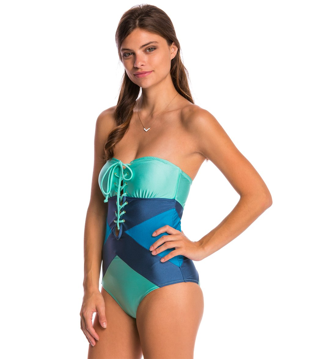 8dbf12ee48 MINKPINK Sea Splice One Piece Swimsuit at SwimOutlet.com - Free Shipping
