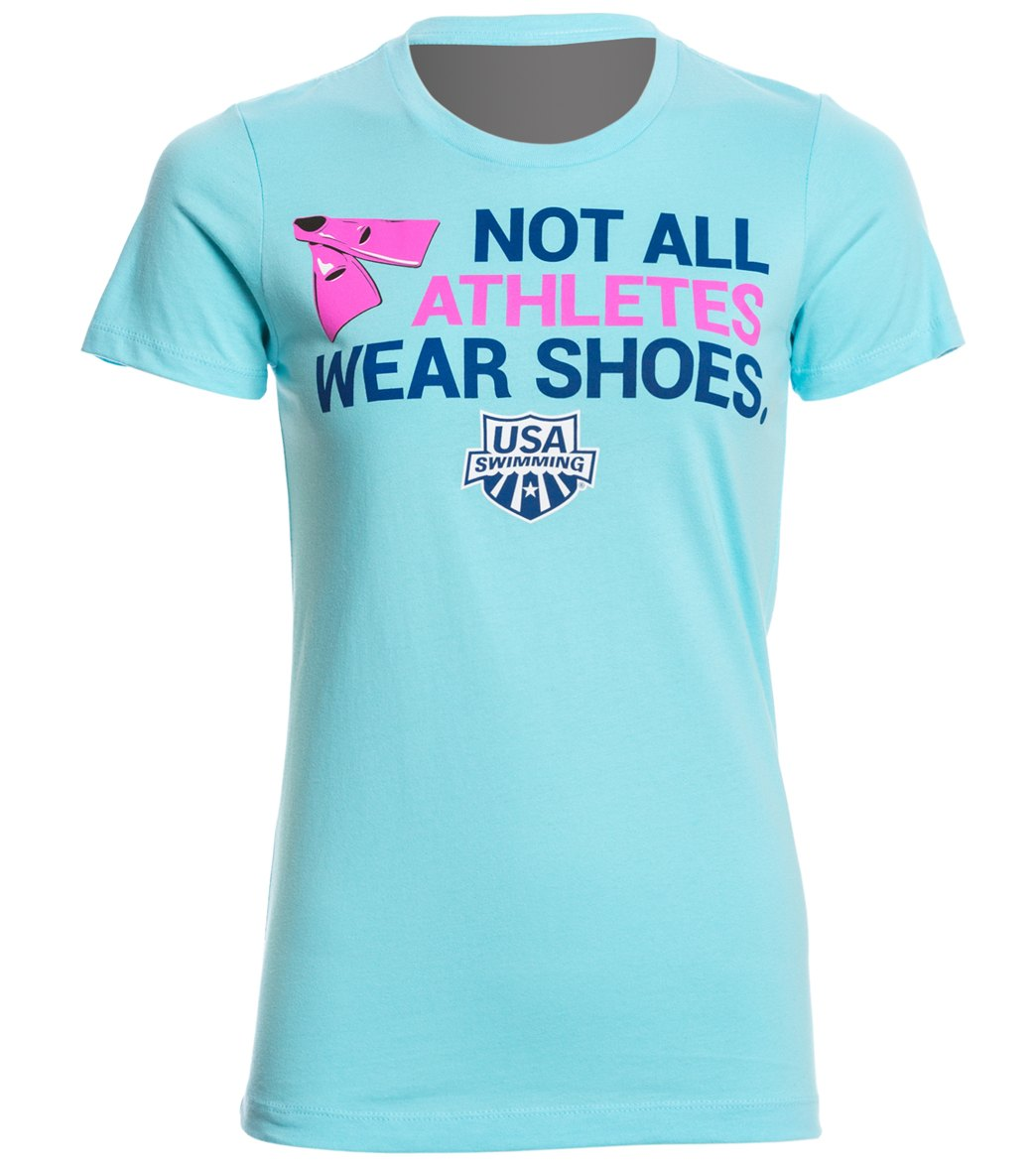Usa swimming women 39 s athletes crew neck t shirt at for Wearing t shirt in swimming pool