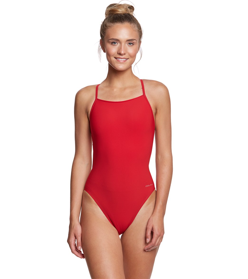 d0a1eff09efb5 Dolfin Graphlite Solid Cross Back One Piece Swimsuit at SwimOutlet.com -  Free Shipping