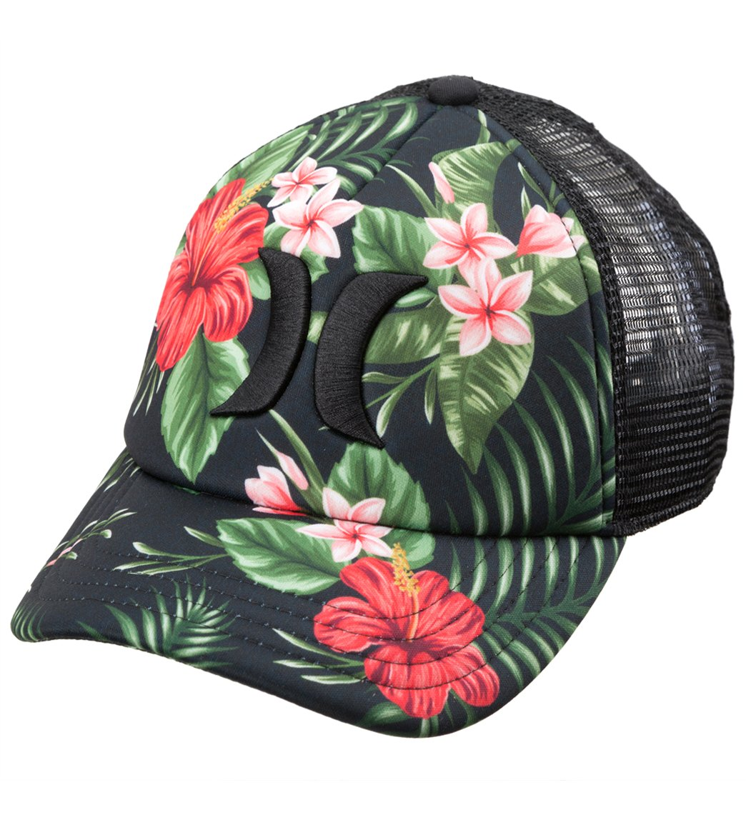 2311b3ed2e3 Hurley One   Only Black Floral Trucker Hat at SwimOutlet.com