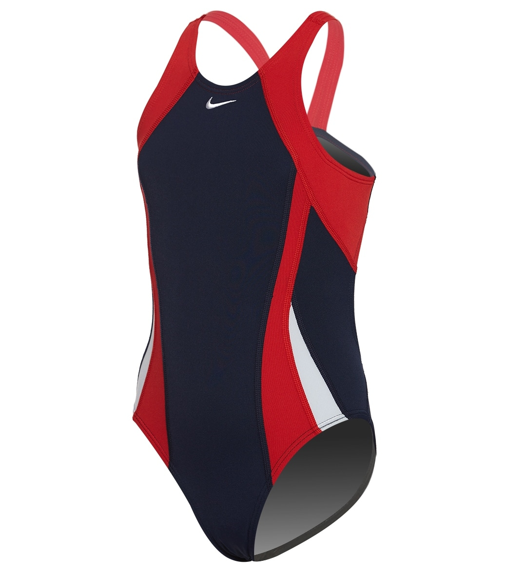 68313a3225c Nike Girls  Color Surge Fastback One Piece Swimsuit at SwimOutlet.com - Free  Shipping