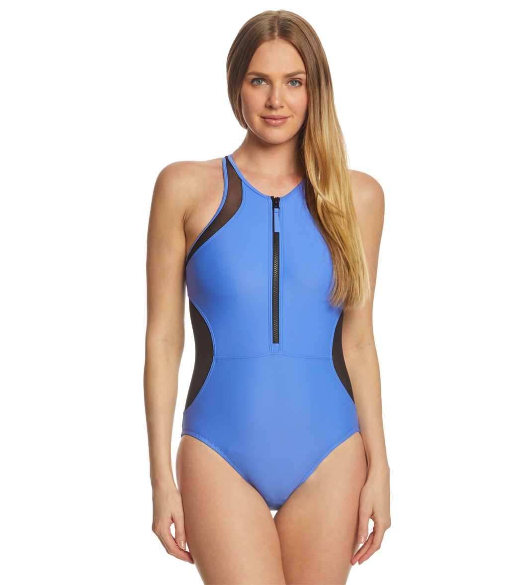Speedo Chlorine Resistant Mesh One Piece Swimsuit at SwimOutlet.com - Free  Shipping d101d69b2