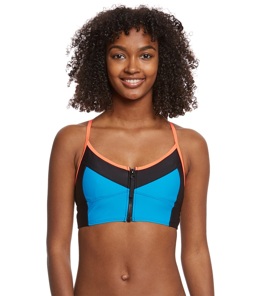 eba7a1895b8dc Speedo Women s Zip Front Midi Crop Bikini Top at SwimOutlet.com - Free  Shipping