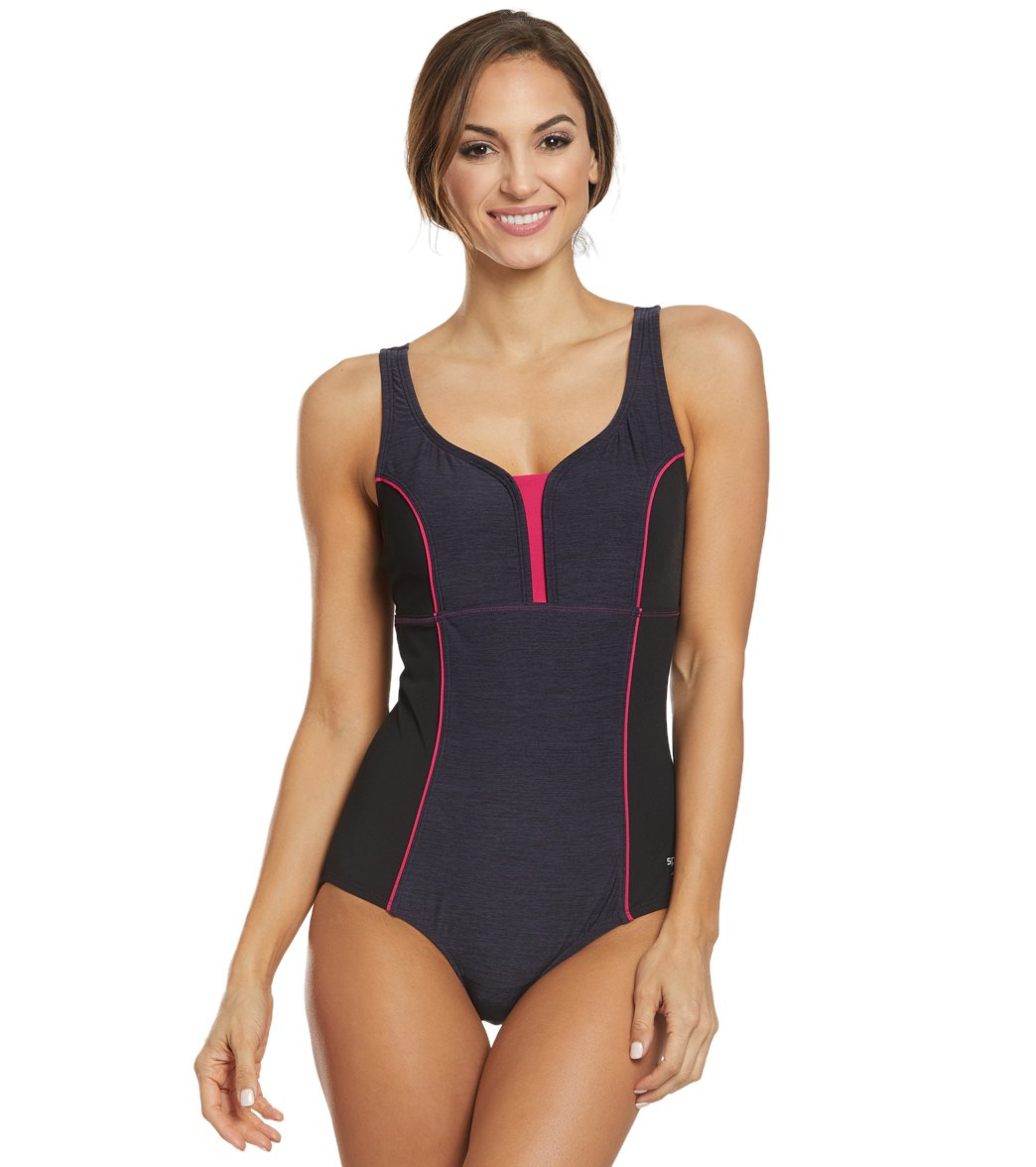 08f80aac22cc7 Speedo Texture Touchback One Piece Swimsuit at SwimOutlet.com - Free  Shipping