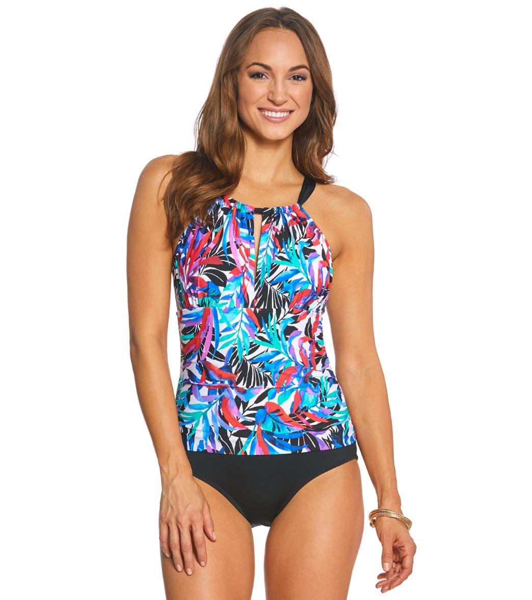 c9a2ab06f087e ... Jantzen Tropic Nights High Neck One Piece Swimsuit. MODEL MEASUREMENTS