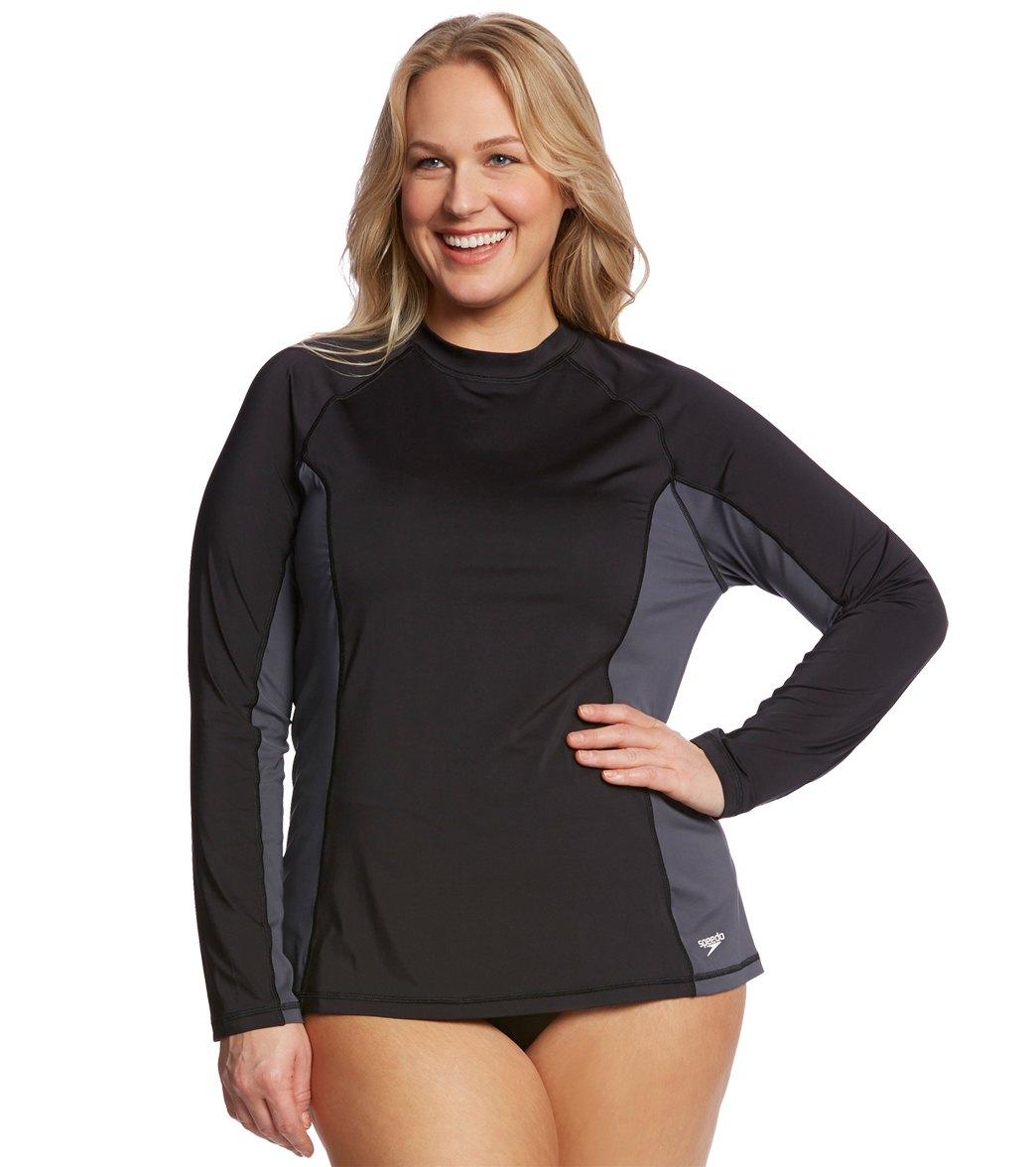 a785372dff ... Speedo Women's Long Sleeve Plus Size Rashguard. Play Video. MODEL  MEASUREMENTS