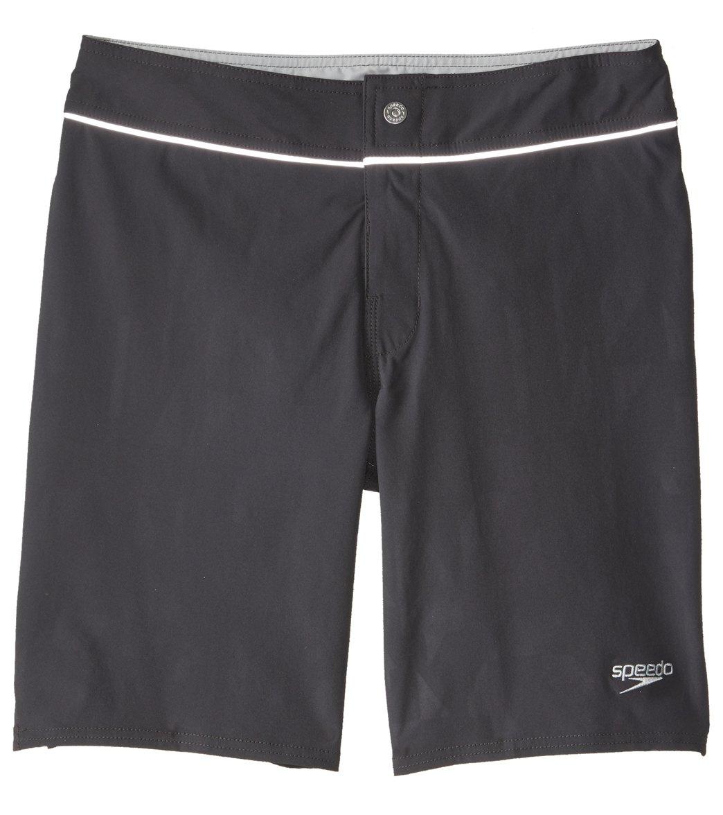 Black Size 32 Speedo Mens Stretch Tech Boardshort Workout /& Swim Trunks