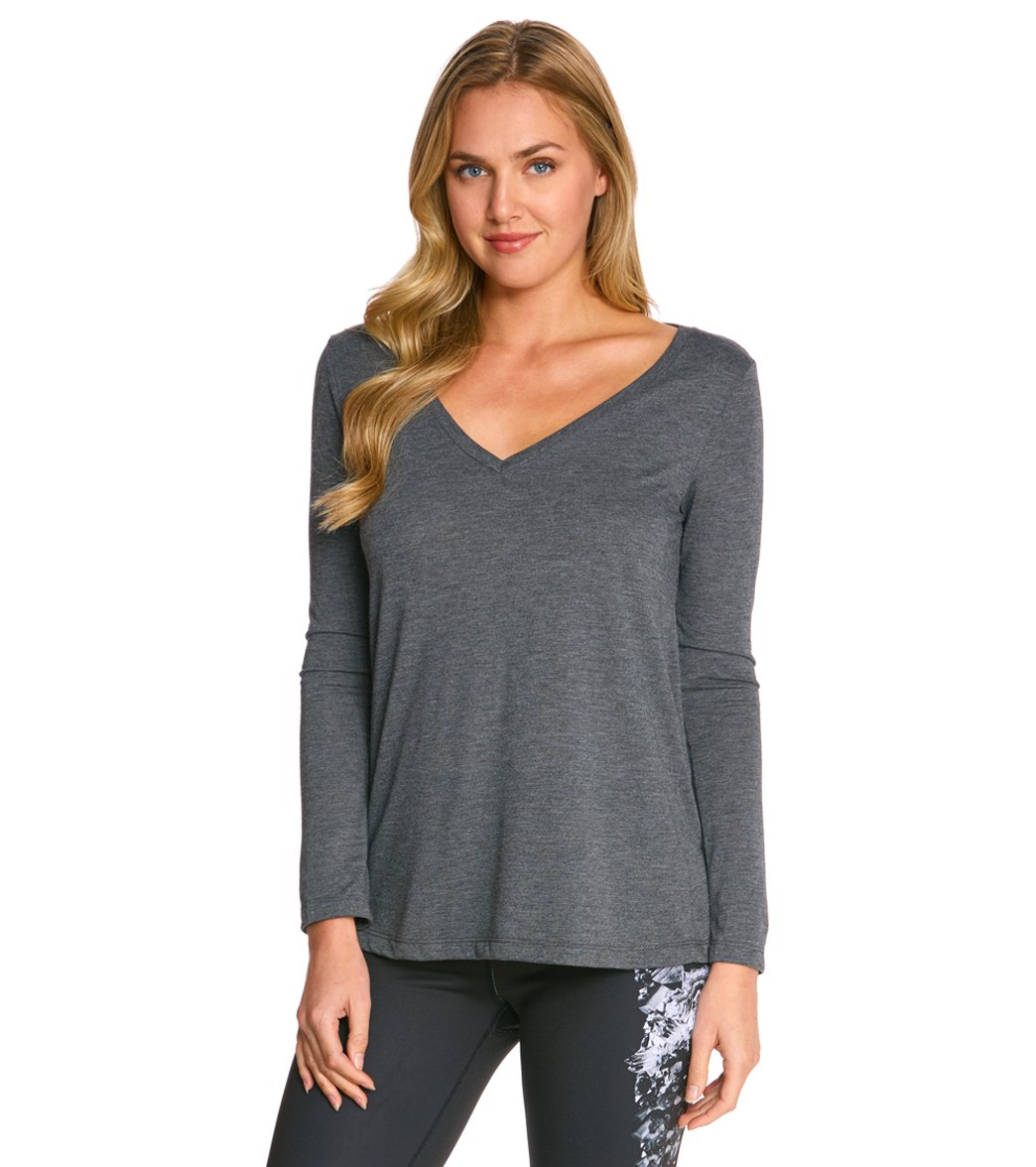 ccc52314f13 Bella + Canvas Flowy Long Sleeve V-Neck Tee at YogaOutlet.com