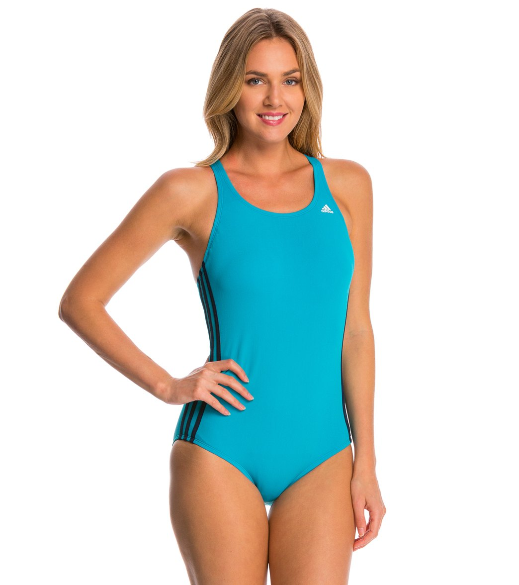 08ed07e37f28d quAdidas Women s 3-Stripe One Piece Swimsuit at SwimOutlet.com - Free  Shipping
