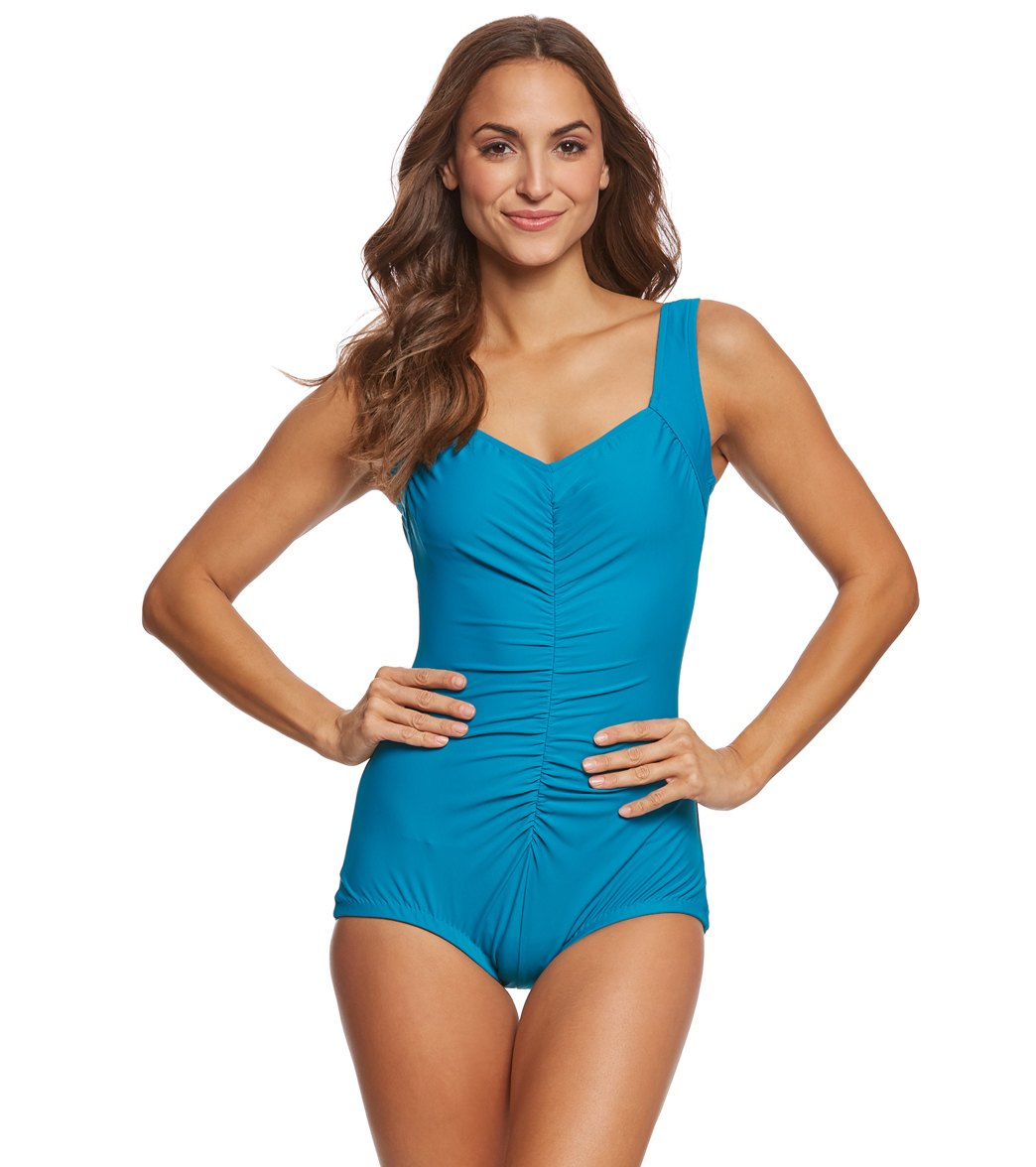 85232357b95 Maxine Solids Tricot Shirred Girl Leg One Piece Swimsuit at SwimOutlet.com