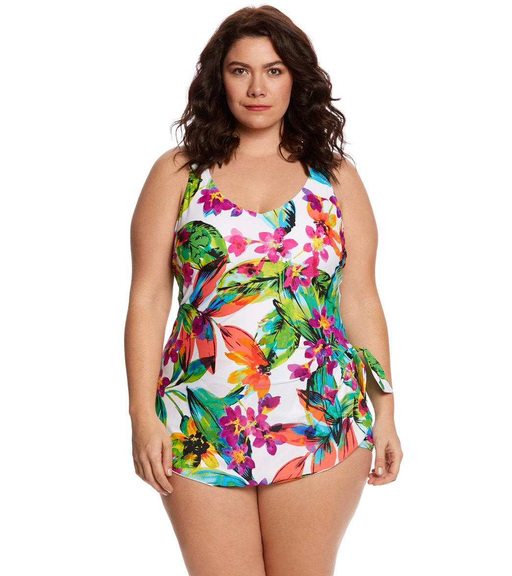 ac9b7bc8476 ... Summer Bounty Wide Strap Sarong One Piece Swimsuit. Play Video. MODEL  MEASUREMENTS