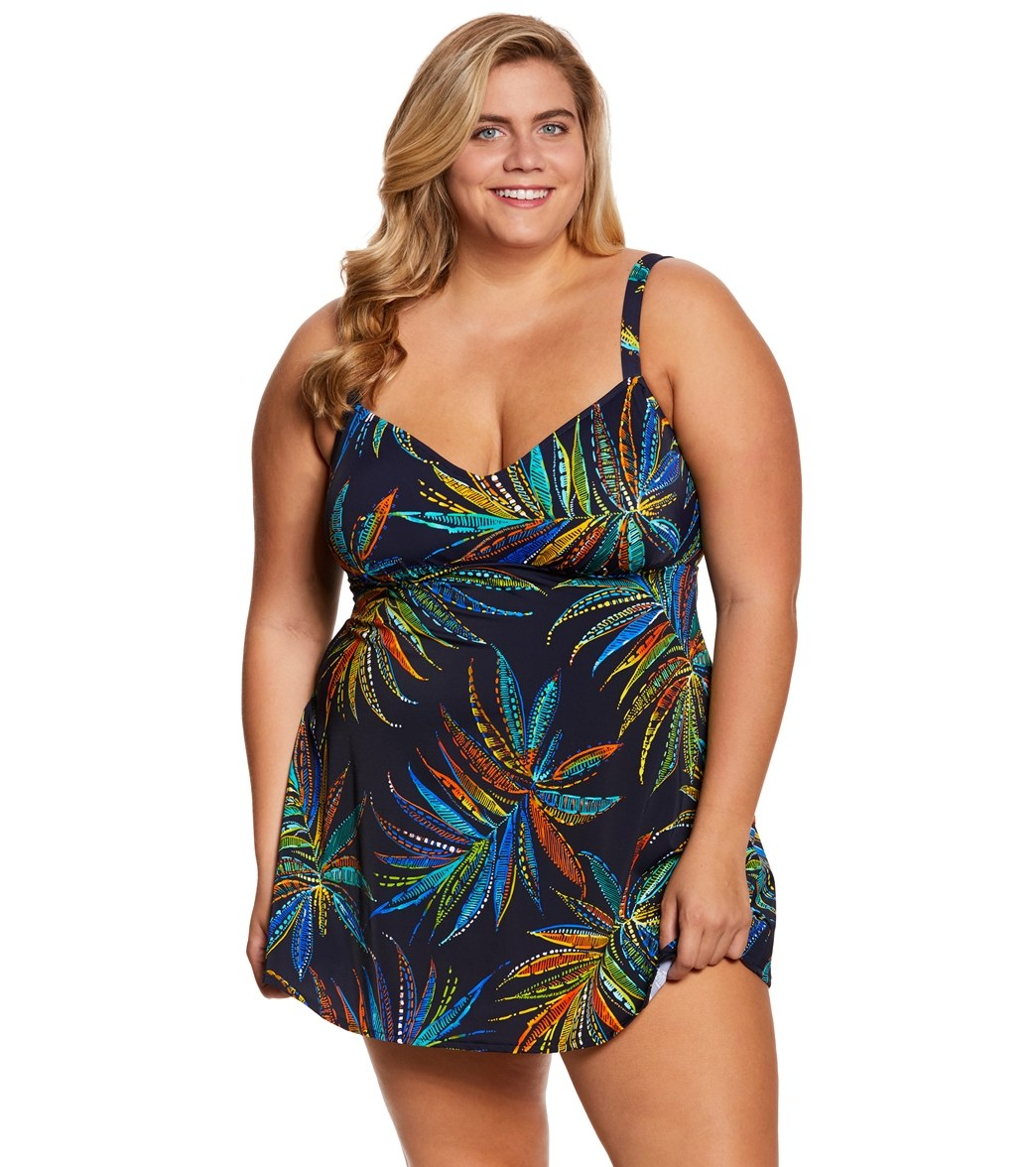 e44edbddcb Penbrooke Plus Size Tropical Fiesta V-Neck Swimdress at SwimOutlet ...