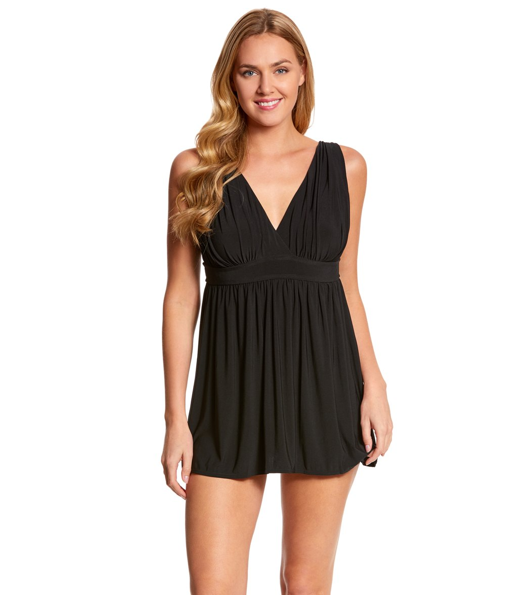 904acaa474e Longitude Shirring Chic Goddess Long Torso Swim Dress at SwimOutlet.com -  Free Shipping