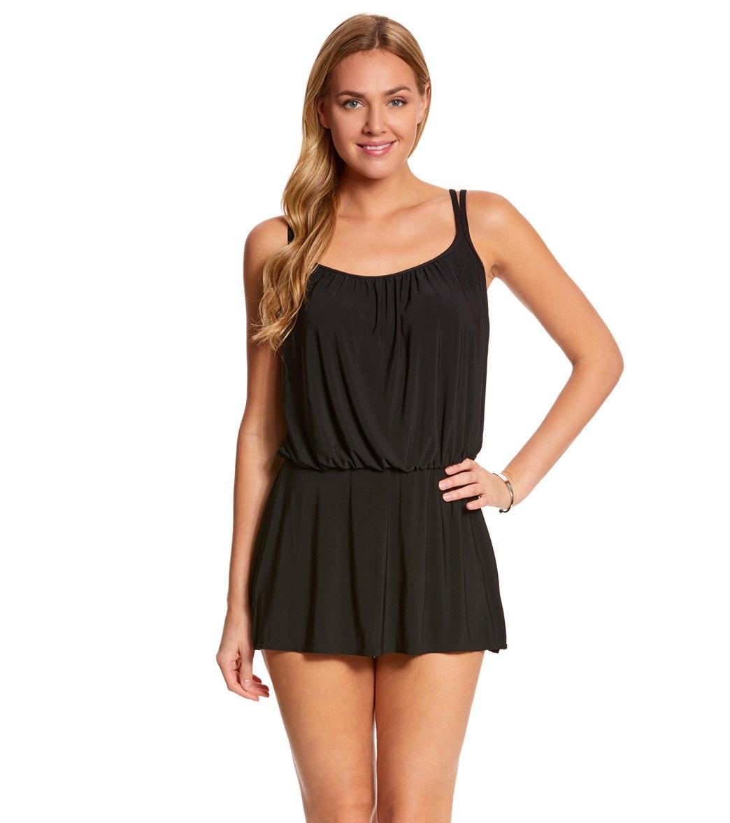 248b41127558d Longitude Shirring Chic Blouson Long Torso Swim Dress at SwimOutlet.com -  Free Shipping