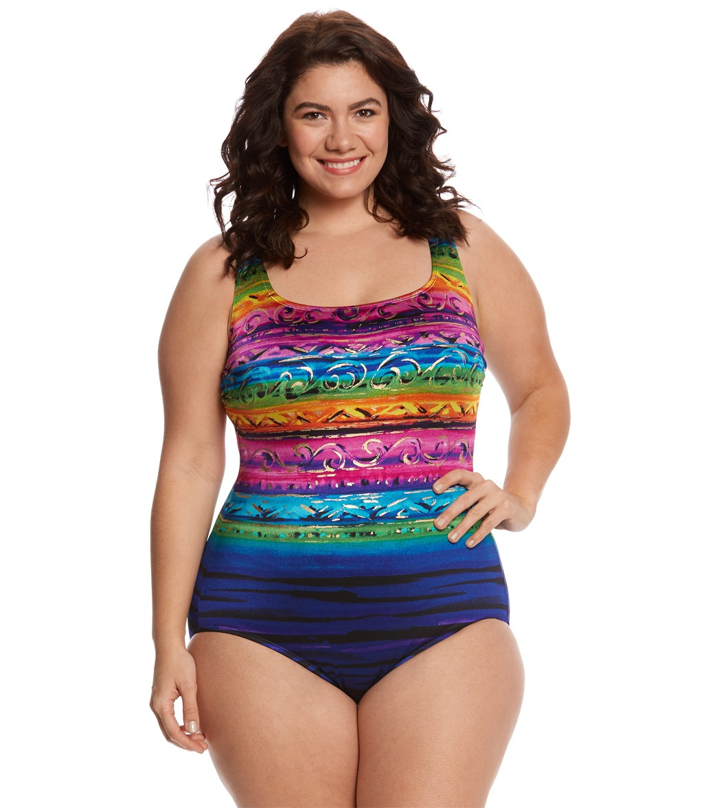 4ff0b75269255 ... Longitude Plus Size St. Lucia Double X-Back Tank One Piece Swimsuit.  Play Video. MODEL MEASUREMENTS