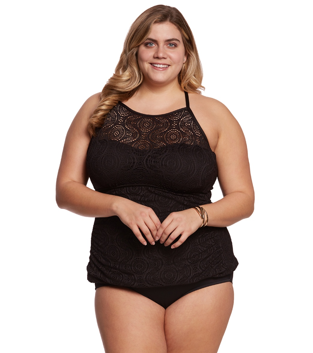 8747a89fec0 ... Plus Size Sheer Brilliance High Neck Tankini Top Play Video. MODEL  MEASUREMENTS