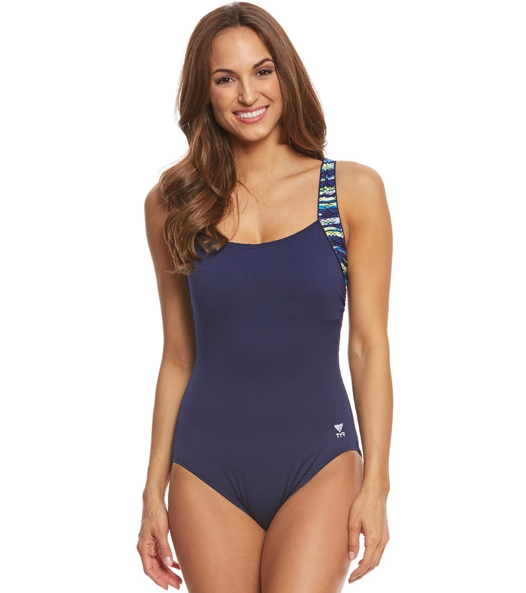 820219bf72a ... TYR Women's Bellvue Stripe Square Neck Chlorine Resistant Controlfit One  Piece Swimsuit. MODEL MEASUREMENTS
