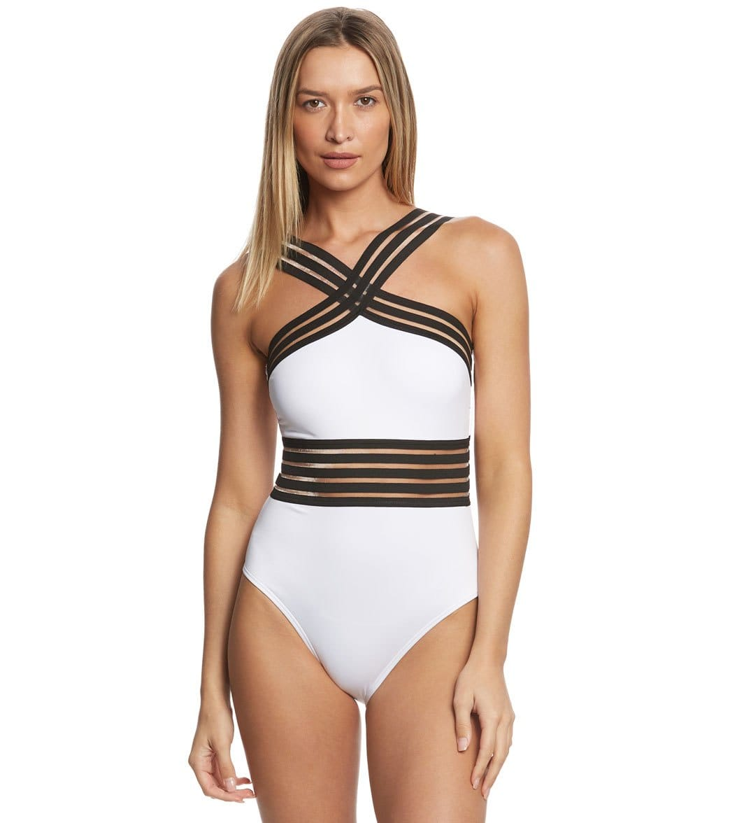 7bbc1a4d7f Kenneth Cole Stompin' In My Stilettos High Neck One Piece Swimsuit at  SwimOutlet.com - Free Shipping